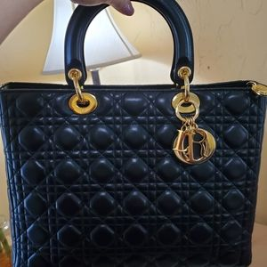 Lady Dior Black Lambskin Large GHW